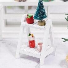 Mini drewniany biały kwiatowy stojak 1:12 Doll House akcesoria półka ekspozycyjna