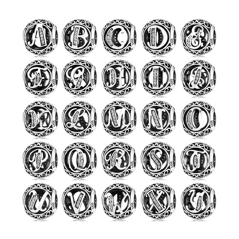 925 Sterling Silver Hollow Beads Letter A to Z trendy Womens Accessories Fit Original Pandora Charms Bracelets Jewelry Making(China)