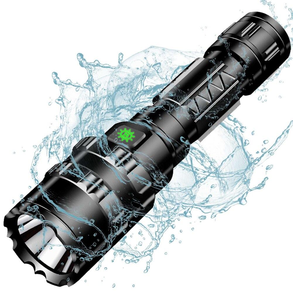 Spor ve Eğlence'ten Dış Mekan Aletleri'de 50000 LM L2 şarj edilebilir taktik el feneri led lamba için 5 mod kamp + 18650 pil + USB kablosu + kutu title=