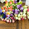 15 цветов/1 букет, искусственные шелковые розы, искусственные цветы, имитация бутонов, сушеные цветы для домашнего свадебного интерьера