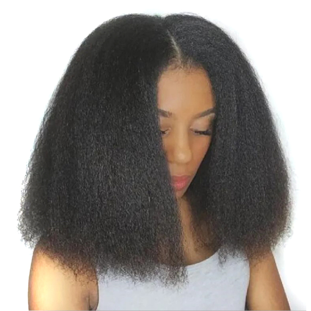 Afro Kinky Straight Bob Wigs Synthetic High Temperature Fiber Hair Yaki Straight Curl Medium Length Wigs For Women 14Inch