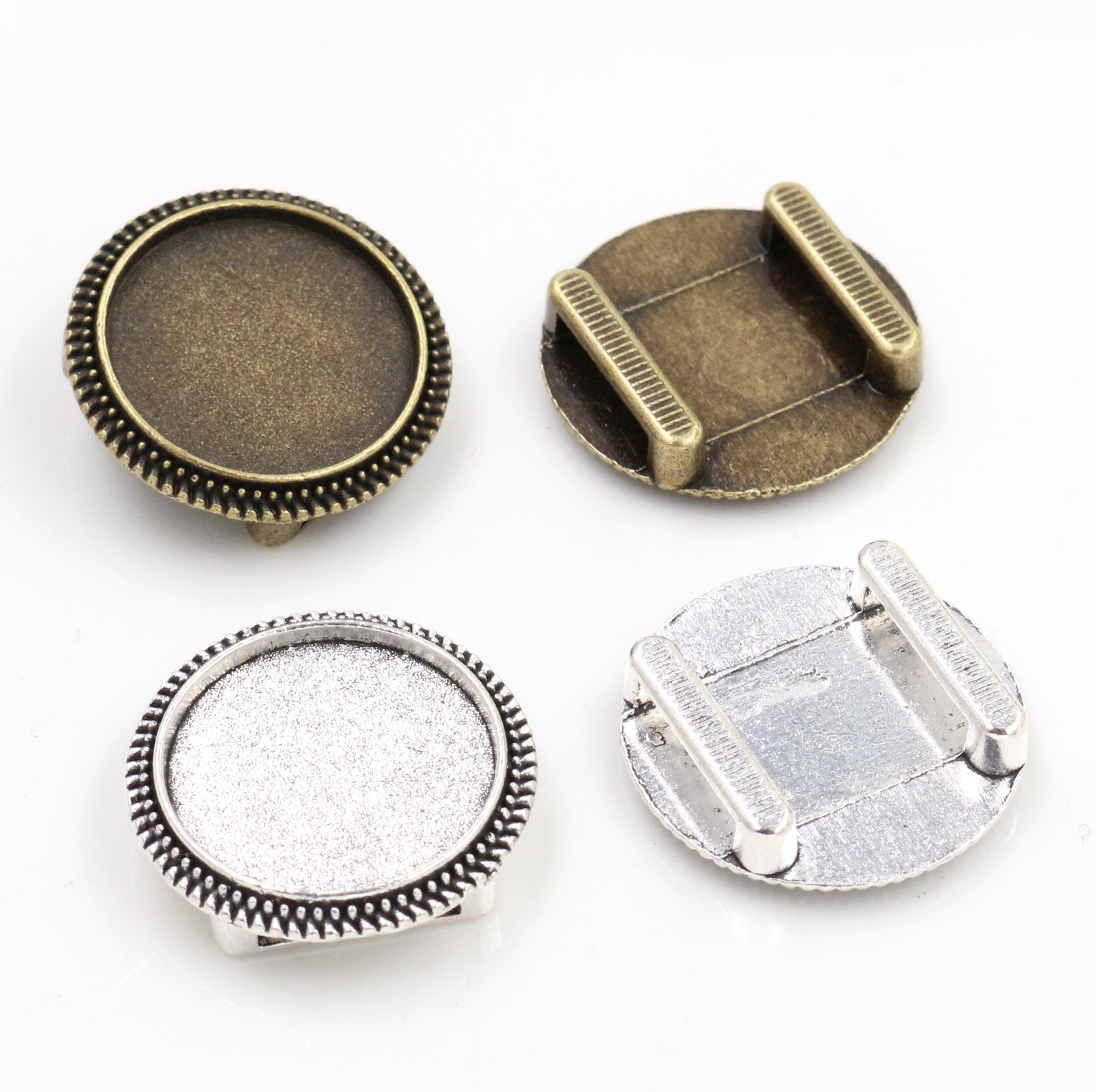 10pcs 18mm Inner Size Antique Bronze And Silver Plated Hole (10mm) Beads Style Cabochon Base Cameo Setting Bracelet Pendant
