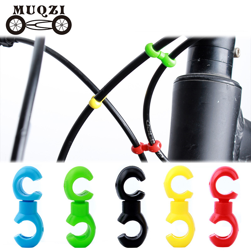 MUQZI 10Pcs Bicycle Rotatable 360 Degree Line Pipe Buckle MTB Bike Derailleur Shift Cable Brake S Style Clips Buckle