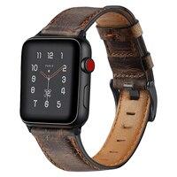 Banda do vintage para apple pulseiras de relógio couro 38mm 44mm 40mm 42mm substituição couro genuíno bandas para iwatch 83011|Pulseira do relógio| |  -