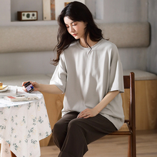 Pajamas-Set Nightwear Sleepwear Shorts Cotton Women Summer Casual for Solid-Color Advance