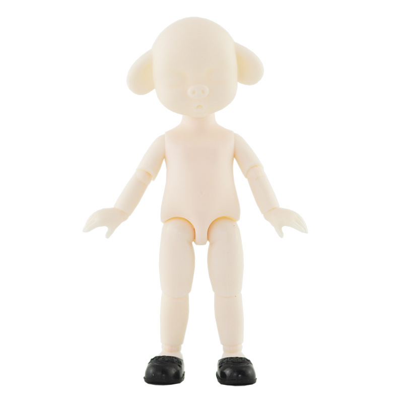 Ob11 BJD Doll 16cm 13 Movable Jointed Dolls Cute Sleeping Pig Head White Skin Doll Nude Body Without Makeup For Girls Toys Gift