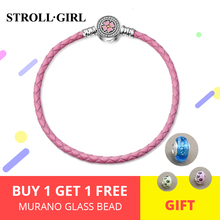Genuine 925 Sterling Silver Pink Leather Bracelet Rope with pink enamel&white CZ flower Buckle Women diy jewelry for gifts