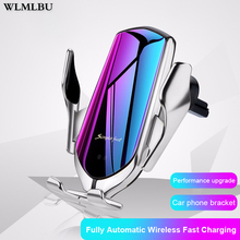 R1 10W Car Wireless Charger Automatic Clamping phone Holder For iPhone Xs Huawei LG Infrared Induction Qi