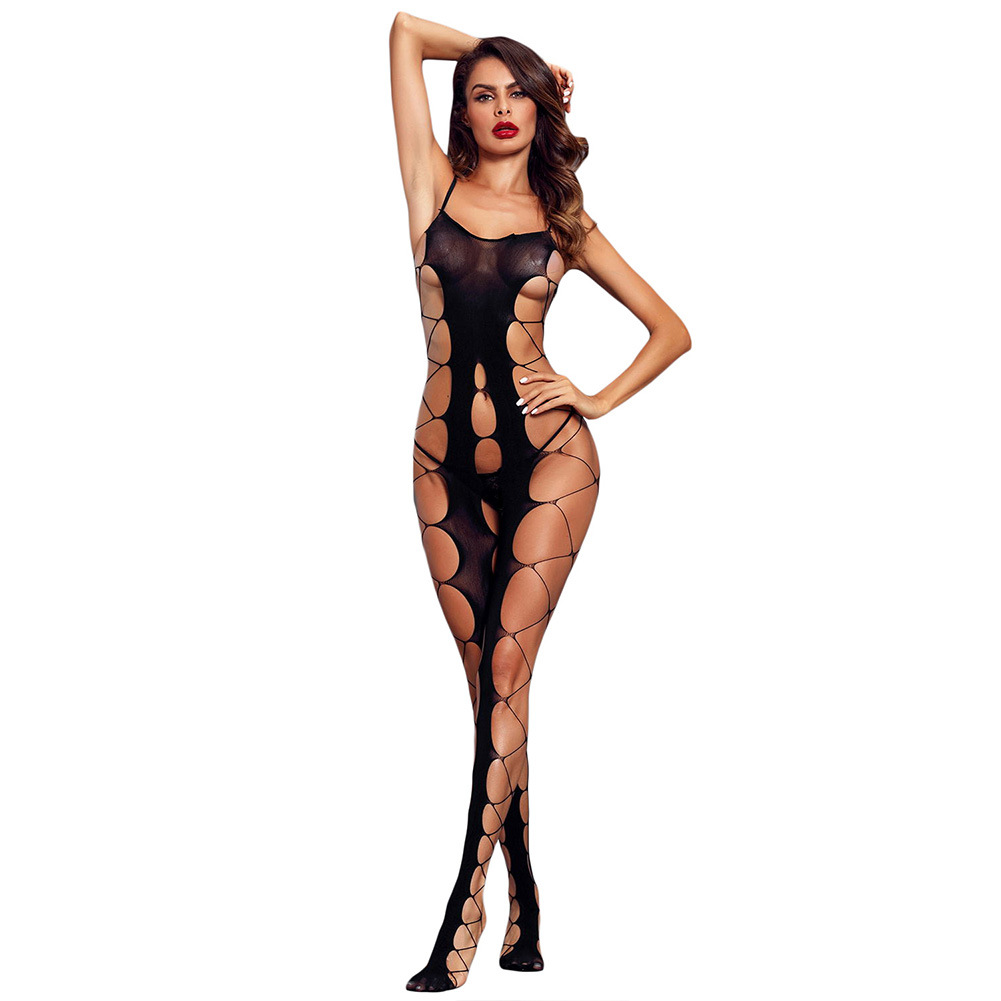 Shi Ying Sexy Lingerie New Style Black Camisole Sexy Mesh Big Hole Flirting Open Crotch Body-stocking Pajamas 790063