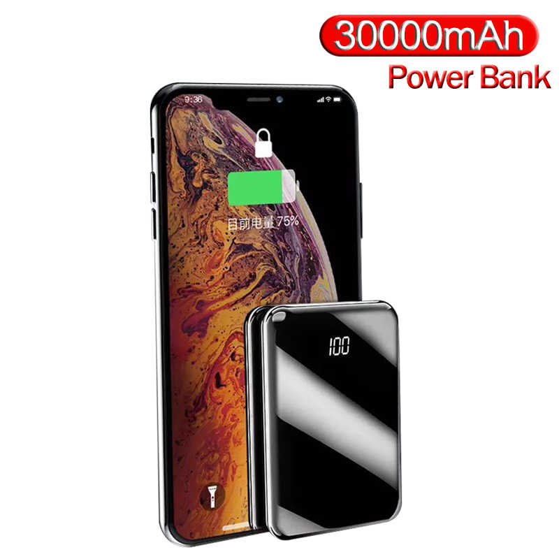 Mini Power Bank 30000Mah Spiegel Screen Powerbank Charger 2 Usb-poorten Externe Batterij Poverbank Draagbare Voor Smart Telefoon
