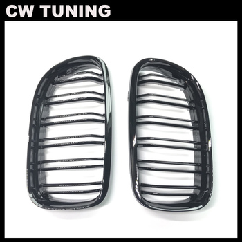 2pcs Gloss black Dual Slat Car Front Kidney Grilles for BMW E90 E91 3-Series 2009-2013 Car Styling Racing Grills image