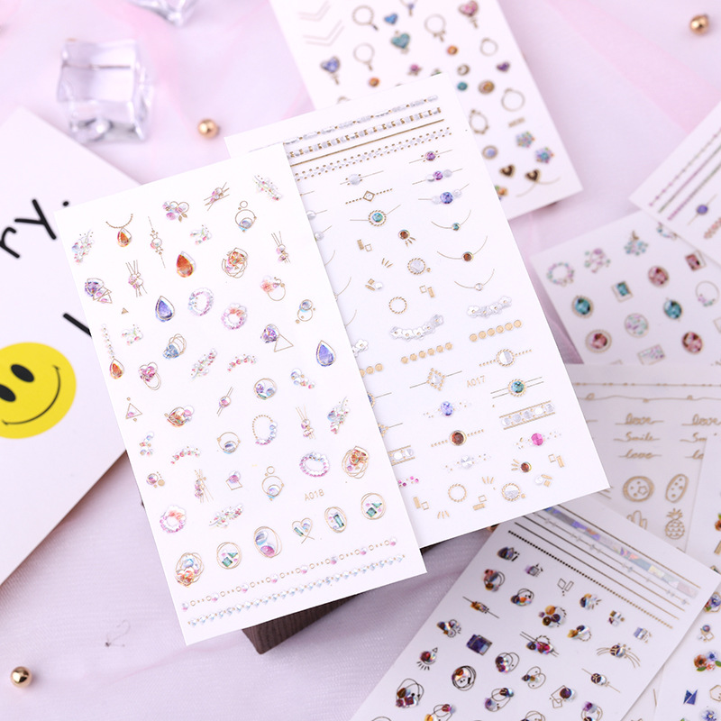 3D Nail Sticker Waterproof Manicure Stickers Adhesive Paper Japanese-style Nail Decals Nail Sticker Chain Link Fencing Red Manic