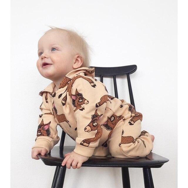 TinyPeople Ezel Baby herfst Jumpsuits Jongens Katoen Hooded Speelpakje winter Meisjes Overall Onesie Kleding Peuter Rompertjes 1