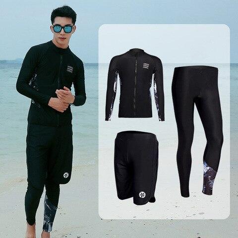 Compressão dos Homens Roupas de Ginástica Ternos de Manga Esportiva Correndo Treino Longa Completa Maiô Surf Snorkel Mergulho Ternos Rash Guard