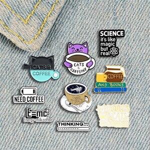 I Love Coffee Badge Creative Cartoon Cat Books Astronaut Coffee Enamel Brooch Trendy Personality Lapel Backpack Jewelry Gift