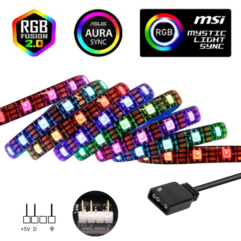 WS2812b цветных (RGB) светодиодных лент для ASUS AURA SYNC / MSI Mystic светильник синхронизации/GIGABYTE RGB Fusion 2,0 (5V 3 Pin Адресуемых LED заголовки)