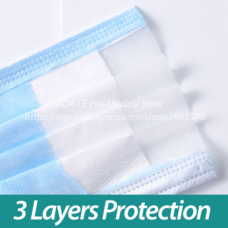 Image 4 - Disposable Face Mask 100 Pcs/Pack 3 Ply Single Use PM 2.5  Nonwoven 3 Layer Anti Pollution Virus Dust Flu Mouth Masks CE ISOMasks