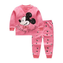 Cartoon Baby Boys Girls Clothes Set Long Sleeve Newborn Baby Clothing Tops&Pants Suit Children Kids Minnie Underwear 2019 Autumn(China)