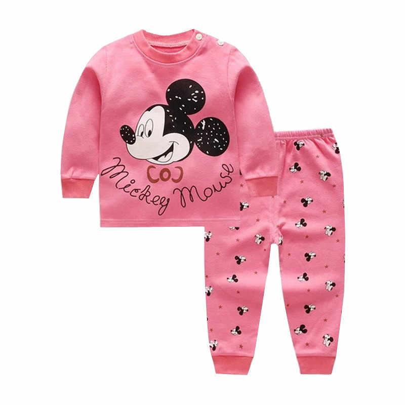 Kreskówki dla dzieci chłopcy dziewczyny ubrania zestaw z długim rękawem noworodka odzież dla dzieci topy i spodnie garnitur dzieci dla dzieci Minnie bielizna 2019 jesień