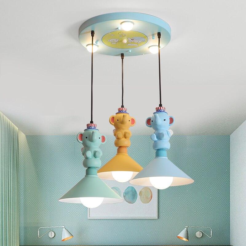 Princess LED Ceiling Lamp  Tricolor Cartoon Elephant Resin Lamp Children's Room Bedroom Study Room Decorative Lighting E27