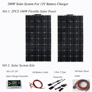 Image 2 - ערכת פנל סולארי 100W 200W אנרגיה סולארית מערכת מלא ערכות מונו תאים סולריים רכב סירת בית גג קמפינג 12V24V סוללה תשלום