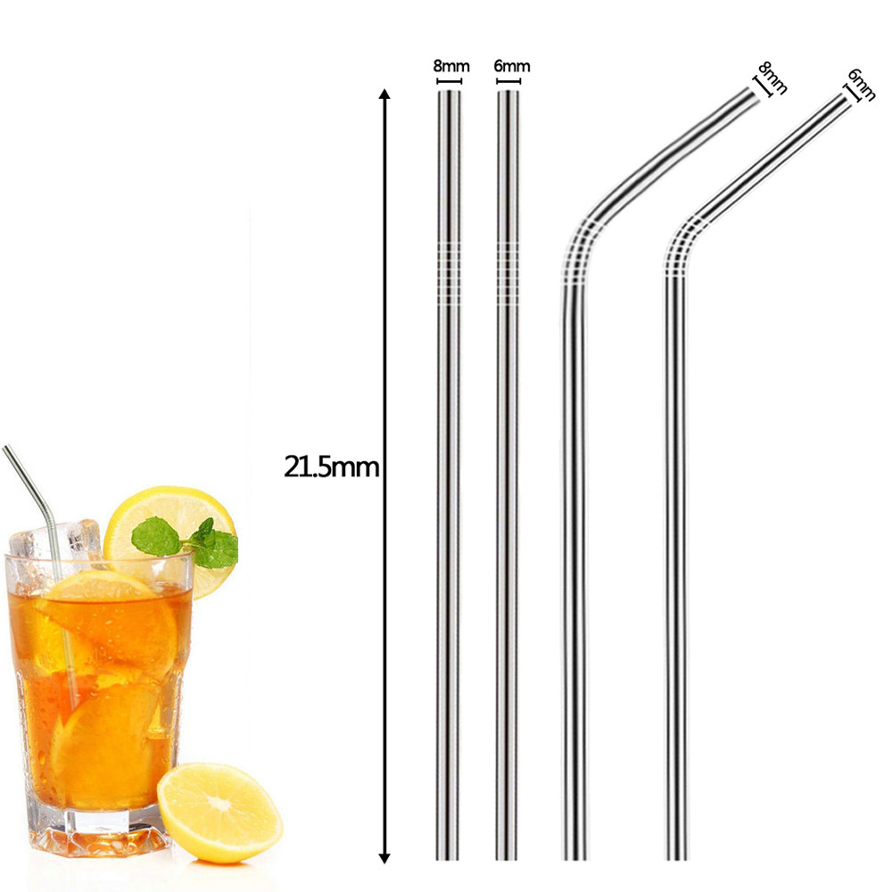 Reusable Metal Drinking Straws 4Pcs Long Stainless Steel Sturdy Bent Straight Drinks Straw High Quality Fits 20 -30 Oz Cup#25