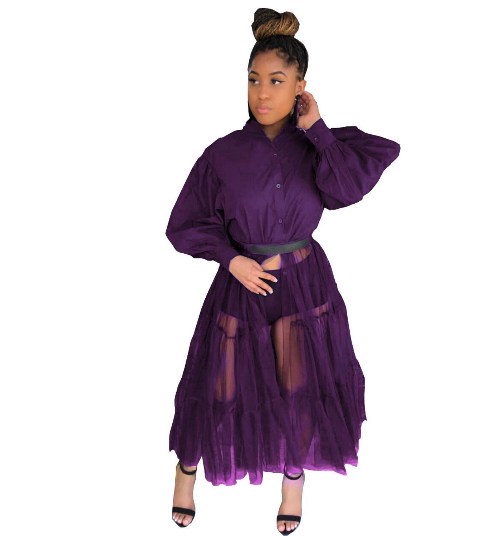 Fashion Shirt Style Button Gauze Dress Ladies Long Street Solid Color Dress Casual Home Commuting Dress Female Wholesale 13
