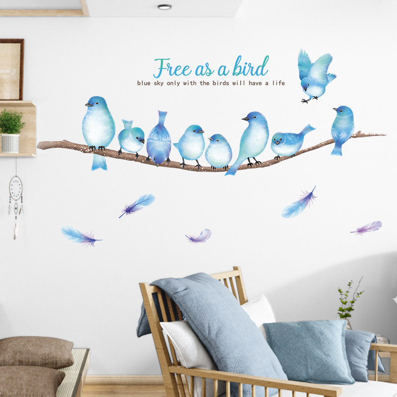 Nordic ins blue birds feather wall sticker room decoration bedroom decor living room background wall decor home decor stickers