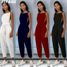 Goocheer Womens Casual Loose Linen Cotton Jumpsuit Dungarees Playsuit Solid Trousers Overalls Women Fashion Pants