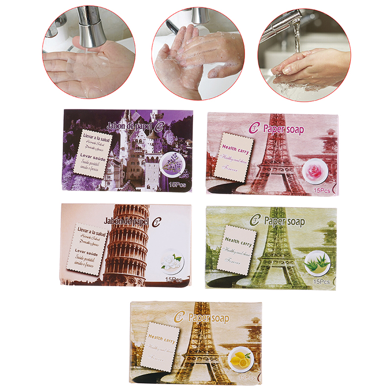 25pcs Outdoor Travel Soap Paper Washing Hand Bath Clean Scented Slice Sheets Disposable Boxe Soap Portable Mini Paper Soap