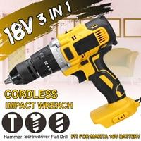 3 em 1 18 v elétrica sem fio furadeira de impacto 13mm rechargable elétrica chave de fenda broca para makita bateria 18 v|Furadeiras elétricas|   -