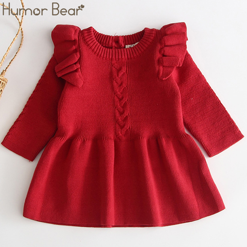 Humor Bear Baby Winter Girl Dress Princess Dress Christmas Sweater Long Sleeve Baby Clothes Spring Autumn Infant Girl Dresses(China)