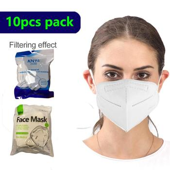 10 x 10pcs pack Resealable 5 layers protective masks anti dust pollution droplet mask green blue bag random adult universal size image