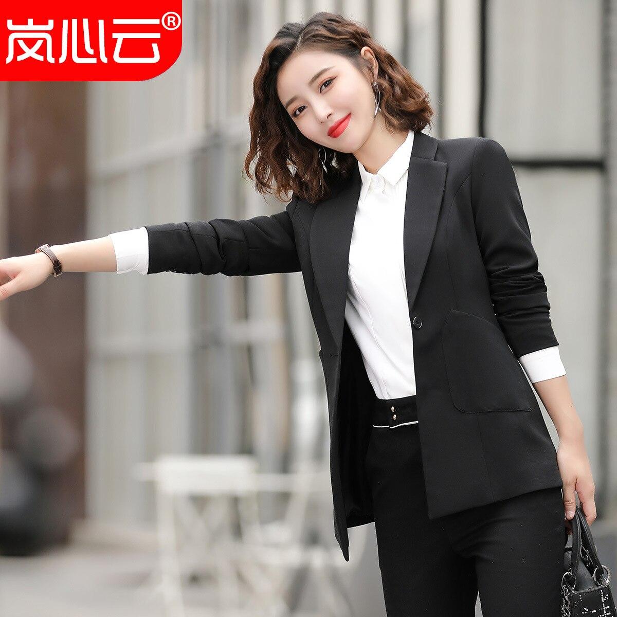 Business WOMEN'S Dress Women's Lawyer Set Formal Wear Work Clothes Long Sleeve Two-Piece Set Black Suit Hotels Clothing