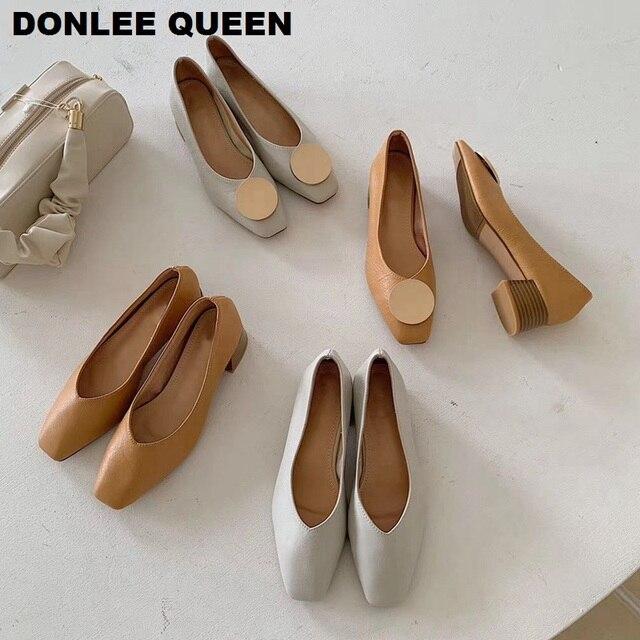סתיו אופנה עץ עקבים משאבות נעלי נשים עקב נמוך סירת נעליים להחליק על רדוד ופרס נקבה משרד עבודה נעלי Zapatos mujer