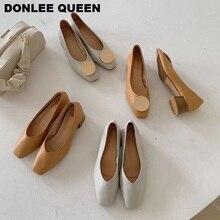 Herfst Mode Houten Hakken Pumps Schoenen Vrouwen Lage Hak Bootschoenen Slip Op Ondiepe Loafers Vrouwelijke Kantoor Werkschoenen Zapatos mujer