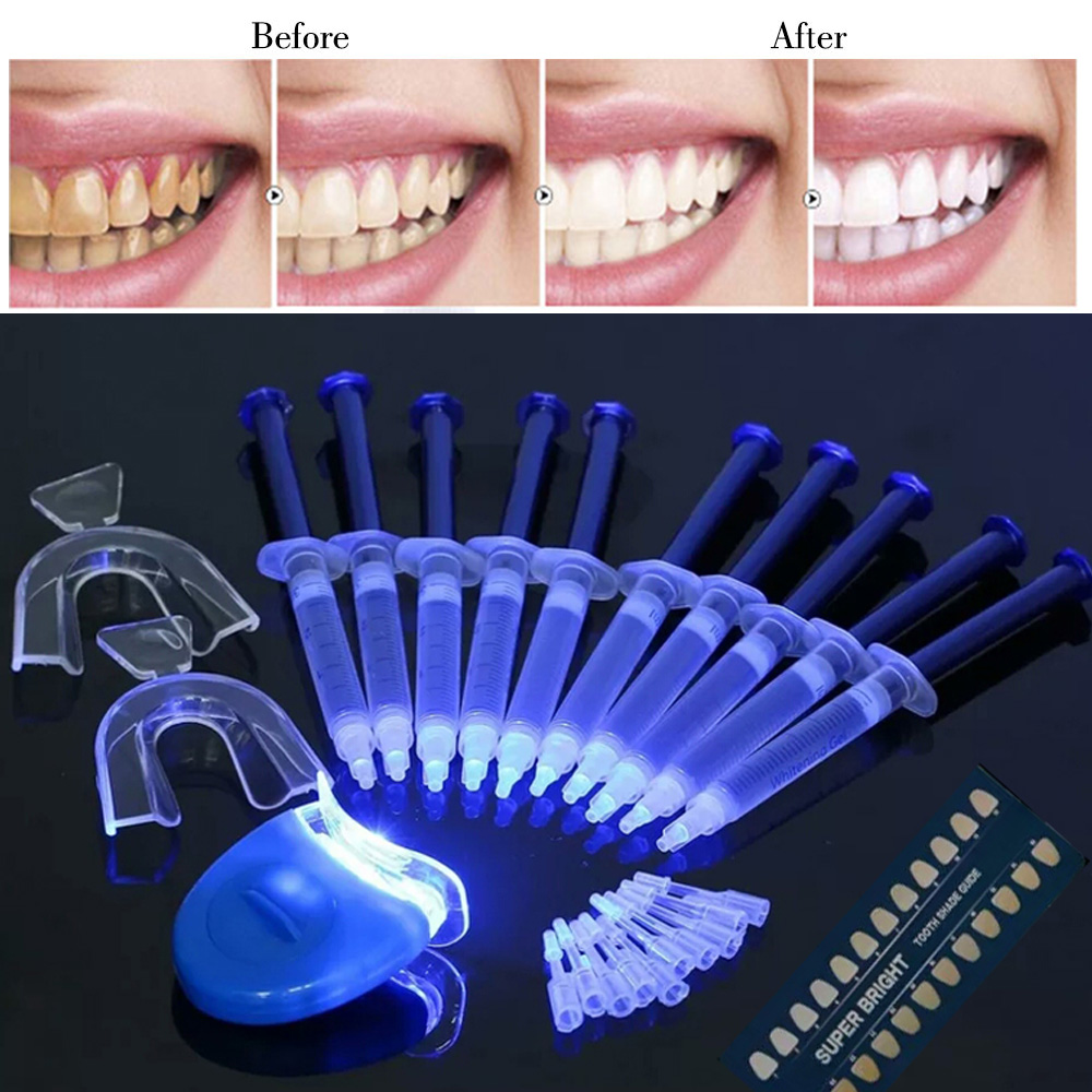 Teeth Whitening Set High Strength LED Blue Laser 44% Peroxide Dental Bleaching System Oral Gel Set Teeth Whitening Kit Equipment