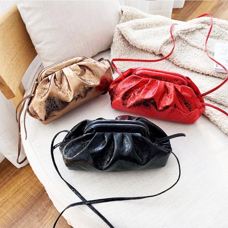 Retro bolsa de couro hobo sacos para as mulheres 2019 novo clássico nuvem bolsa retro dia saco embreagem pequeno travesseiro bolsa pequena tote ouro