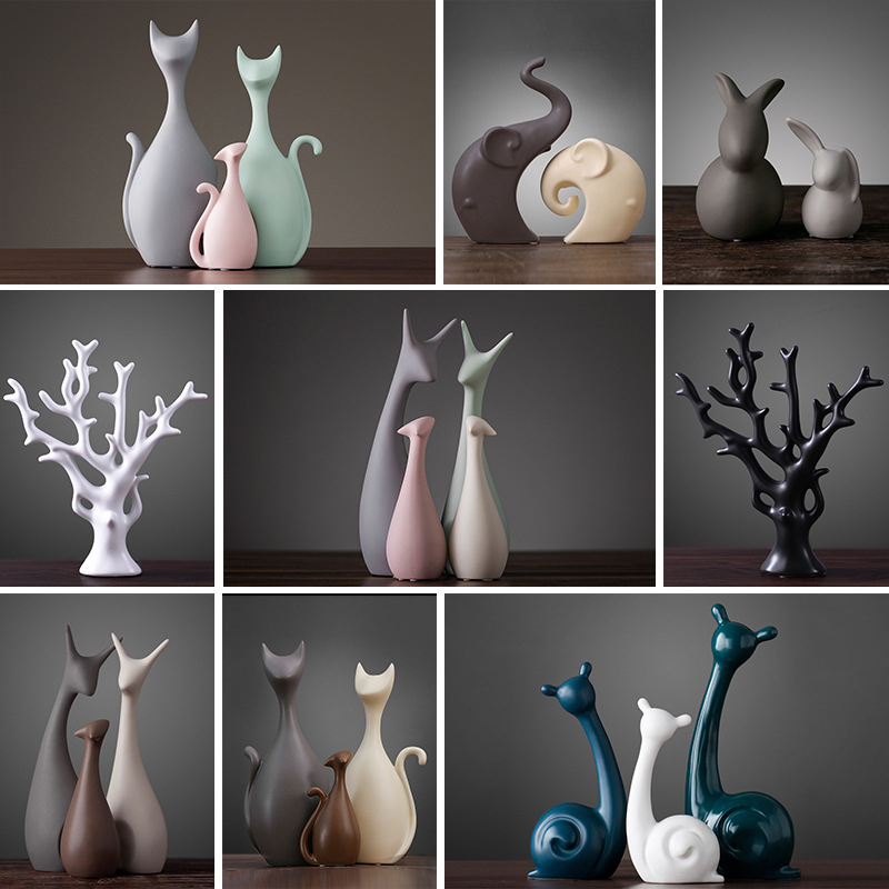 Nordic Ceramic Ornaments Elephant Cat Deer Rabbit Snail Tree Shape Crafts Cute Tasteful Figurines Marriage Gifts Home Decoration