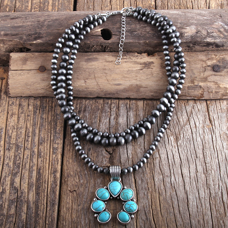 RH Fashion Boho Jewelry 3 Layer Gray Drawing CCB Moon Metal Stones Necklaces Women Bohemia Necklace Gift Dropship