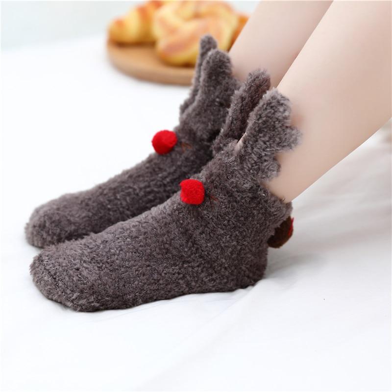 KingDeng Warm Ankle Socks For Kids Winter Baby Warm Socks Boots For Home Girl Cute Animal Cartoon Sock Harajuku Coral Fleece