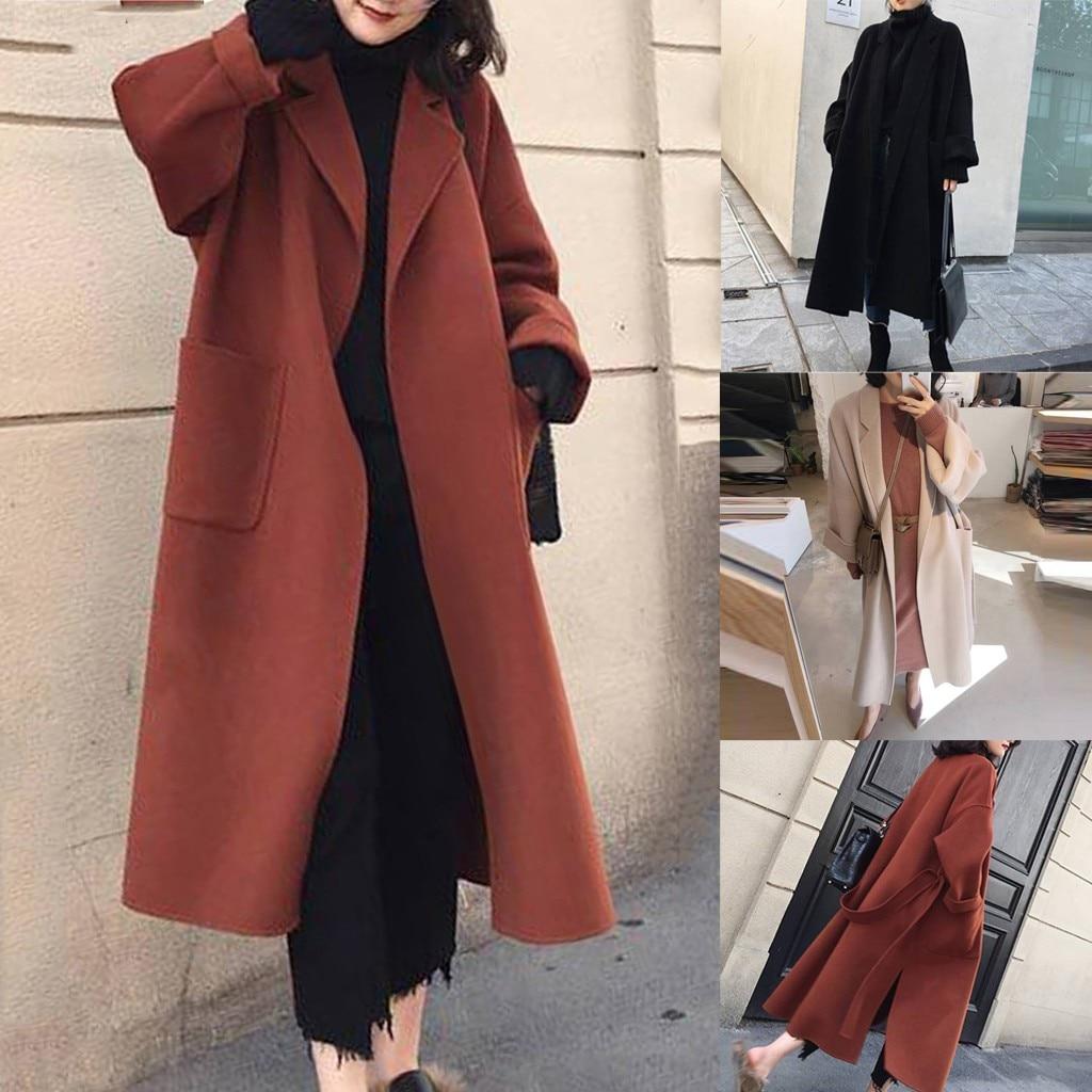 Cardigan Autumn Winter Wool Long Coat Plus Size Ladies Coats Casual Winter Coat with Belt elegant Women Overcoat casaco feminino