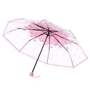 Transparent folding Umbrella Rain Women Men Sun Rain Compact Windproof Style Clear Cherry Blossom Mushroom Apollo Sakura 19SEP26
