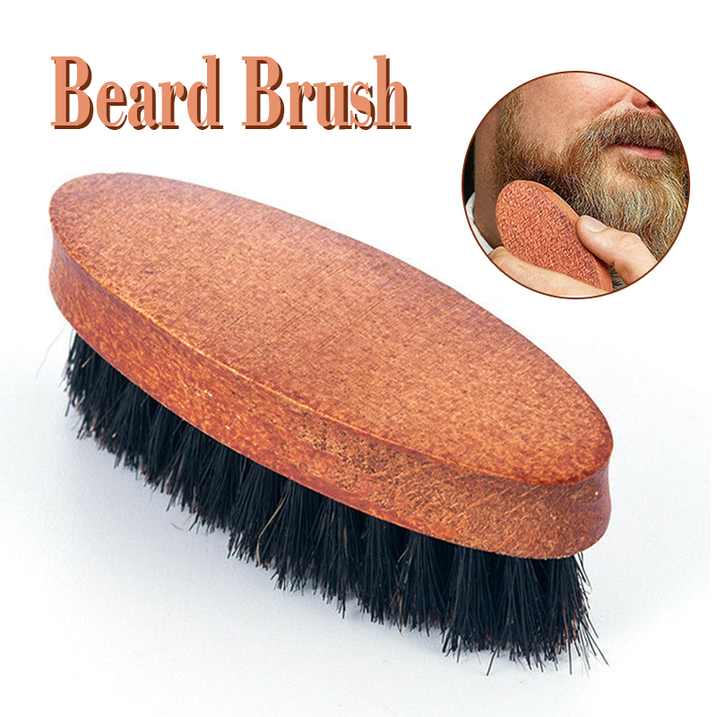 Universal Men Boar Hair Bristle Beard Mustache Brush Hard Wood Oval Handle Comb For Clearing Residue Smoothing Styling Hair
