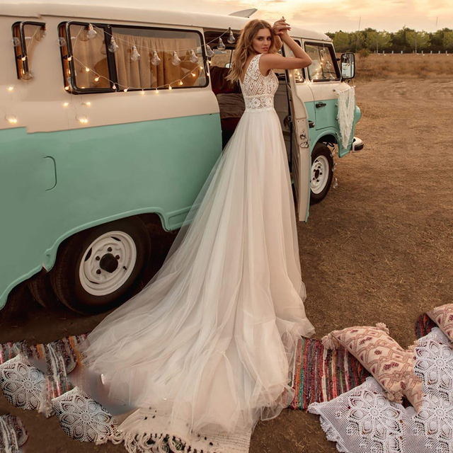 SoDigne Boho Wedding Dresses V Neck A Line Lace Appliques Beach vintage Bridal Gowns Custom Bohemian Wedding Dress Plus Size 3