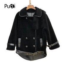 Pudi women winer fur coat jacket real wool coats overcoat TX909