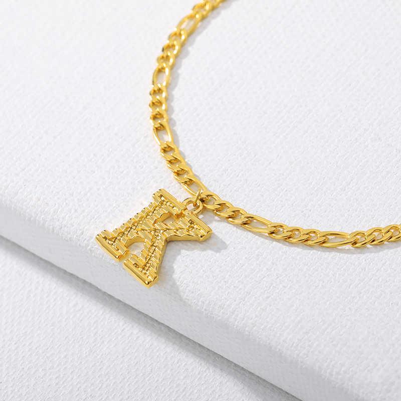 A-Z pierwsza litera obrączki dla kobiet ze stali nierdzewnej złoty alfabet bransoletka na kostkę Boho biżuteria na stopy prezent kobiety Accesorios Mujer