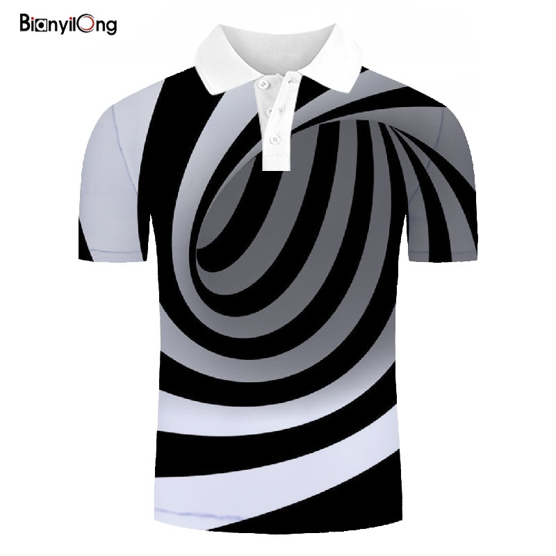2019 New Polo Shirt Men Casual Shirt Fashion Black And White Stripes 3D Printing Short Sleeve Shirt Polo Shirt Tops&tees