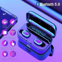2019 החדש 3500mAh TWS 5.0 אלחוטי Bluetooth אוזניות LED כוח בנק עבור Xiaomi iphone סטריאו אוזניות IPX7 עמיד למים אוזניות