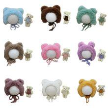 Costume Set-Accessories Photography-Props Rabbit-Fur Newborn Baby Toy 2pcs Hat Knit Handmade